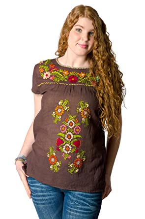 Amazon.com: TCG de manga corta bordado de la mujer blusa ...