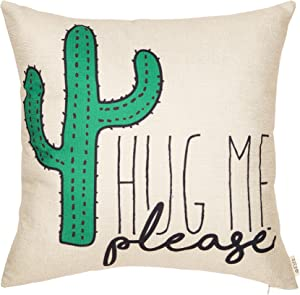"""Fjfz Please Hug Me Cactus Funny Quote Decor Spring Summer Decoration Cotton Linen Home Decorative Throw Pillow Case Cushion Cover with Words Sofa Couch, 18"""" x 18"""""""