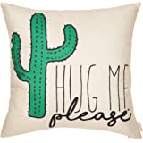 "Fjfz Please Hug Me Cactus Funny Quote Cotton Linen Home Decorative Throw Pillow Case Cushion Cover with Words Sofa Couch, 18"" x 18"""
