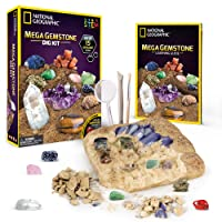 NATIONAL GEOGRAPHIC Mega Gemstone Dig Kit – Excavate 15 real gems including Amethyst, Tiger's Eye & Rose Quartz - Great STEM Science gift for Mineralogy and Geology enthusiasts of any age