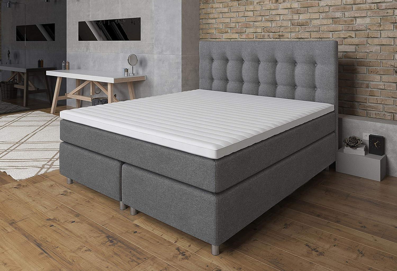 Tesla Dreams Cama con somier Ronda, 160 x 200 cm, confort Lux y colchón de muelles ensacados, 7 zonas, funda Visco Topper 3D, H2/H3, base de muelles ...