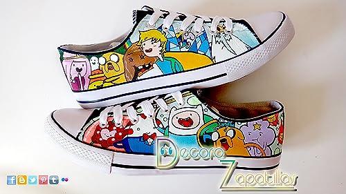 Zapatillas customizadas personalizados lona Hora de aventuras - regalos para cumpleaños - regalos para el - regalos para ella -San Valentin