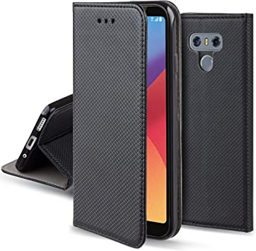 Moozy Funda para LG G6, Negra - Flip Cover Smart Magnética con ...