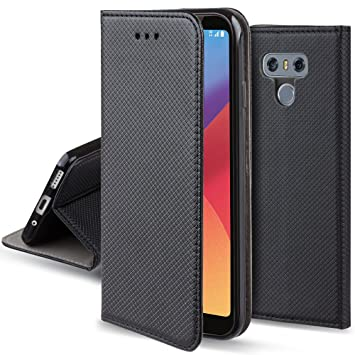 the best attitude a77e9 7d3d0 Moozy case Flip cover for LG G6, Black - Smart Magnetic Flip case with  folding stand
