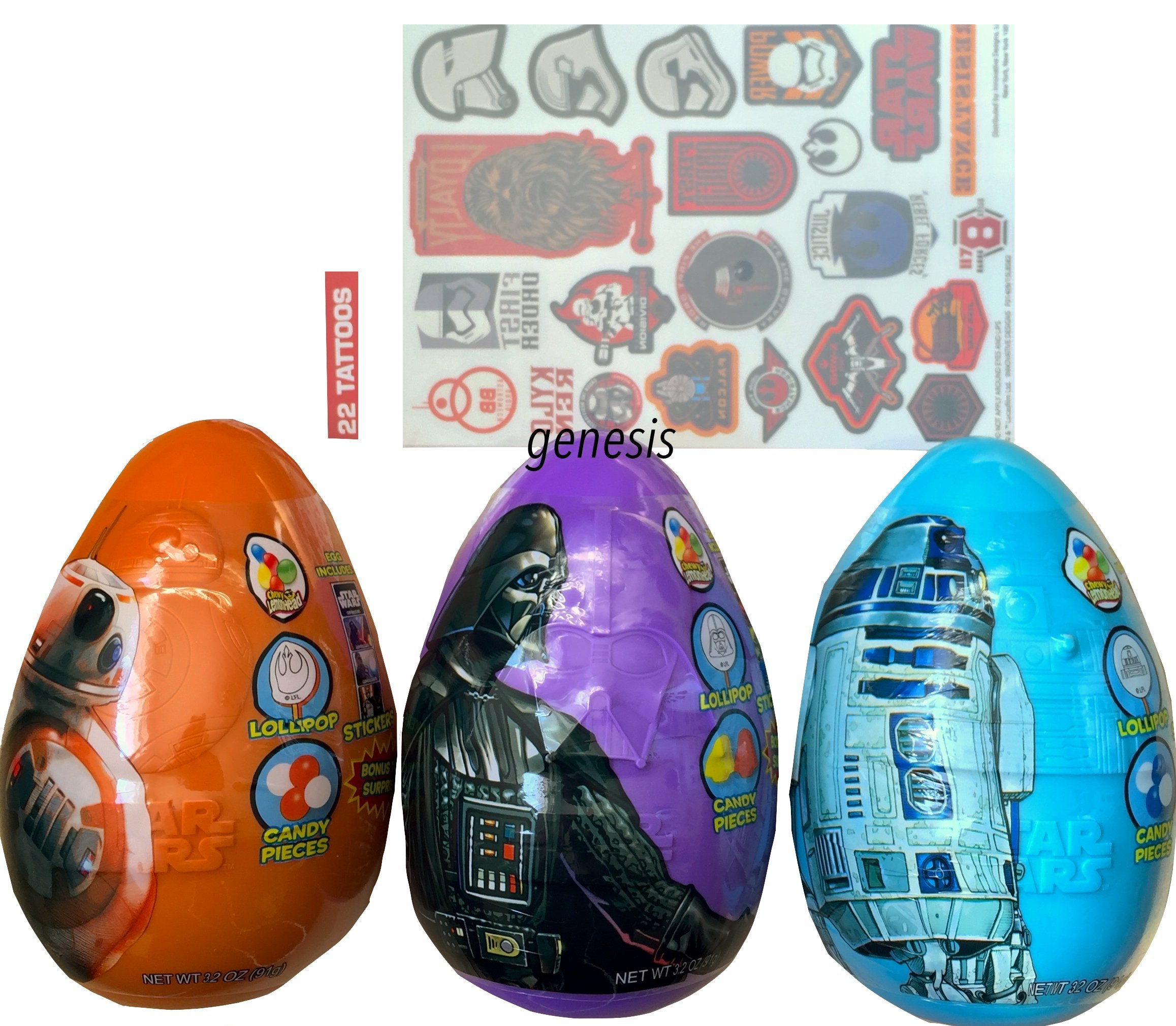 Jumbo Easter Eggs Star Wars Candy,Stickers,& Surprise Inside With Tattoo Sheet by Star Wars (Image #1)