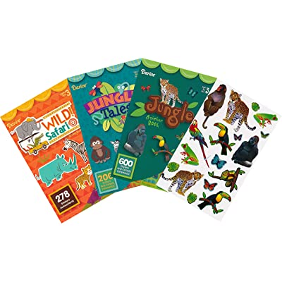 Wild Safari, Jungle Animals and Jungle Tales Animal Adventure Sticker Books for Kids - 3 Books and 2 Sheets – 1118 Stickers in This Bundle: Toys & Games [5Bkhe1103396]