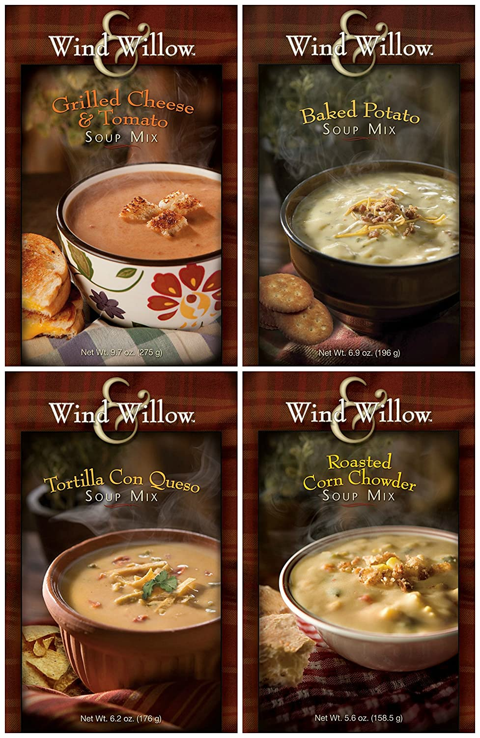 Wind & Willow Favorite Soup Mix Bundle: Baked Potato, Grilled Cheese & Tomato, Roasted Corn Chowder, and Tortilla Con Queso - 4 Total Items