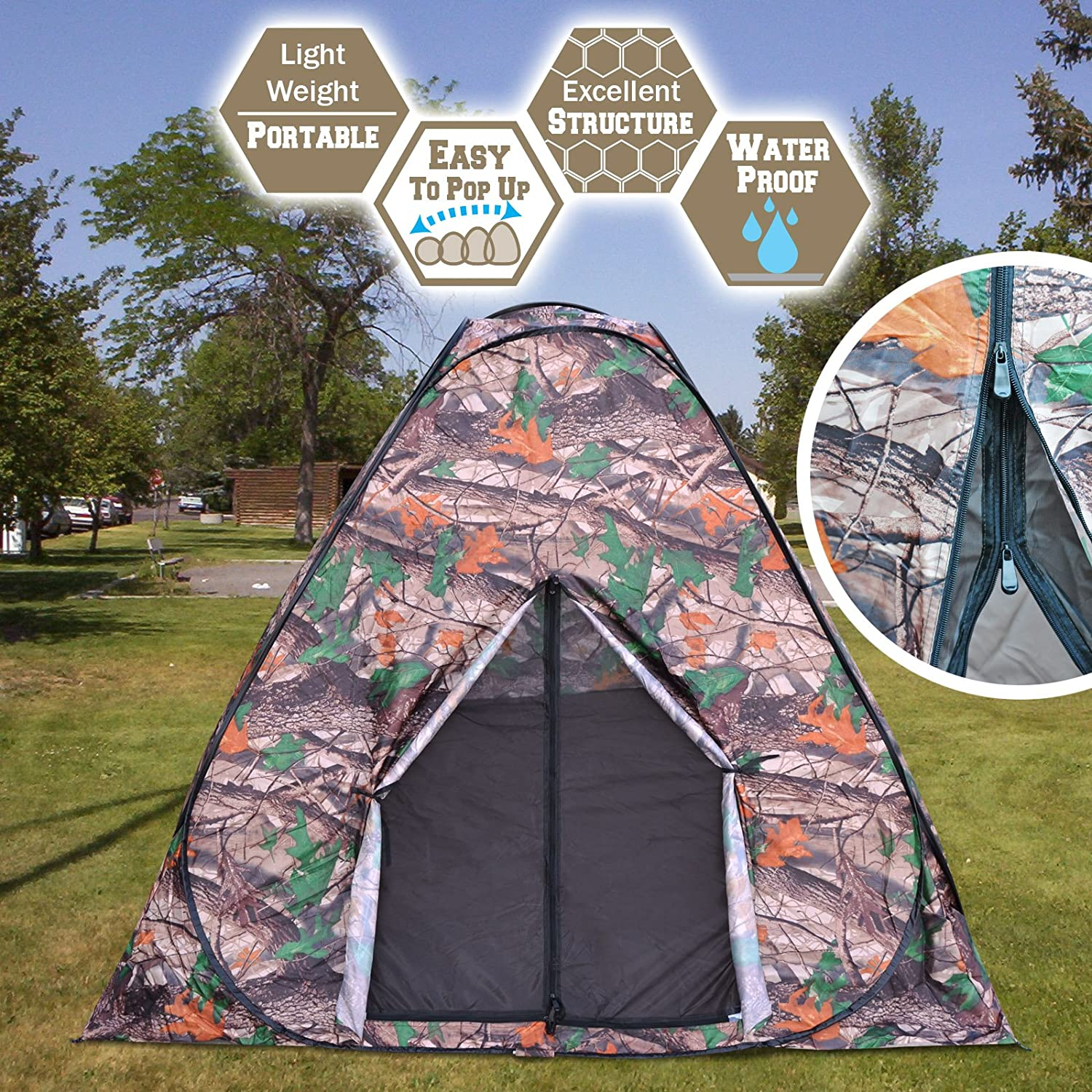 BenefitUSA Portable Camouflage Camping Hiking Instant Tent pop up 2 3 Persons Mosquito Prevention Waterproof