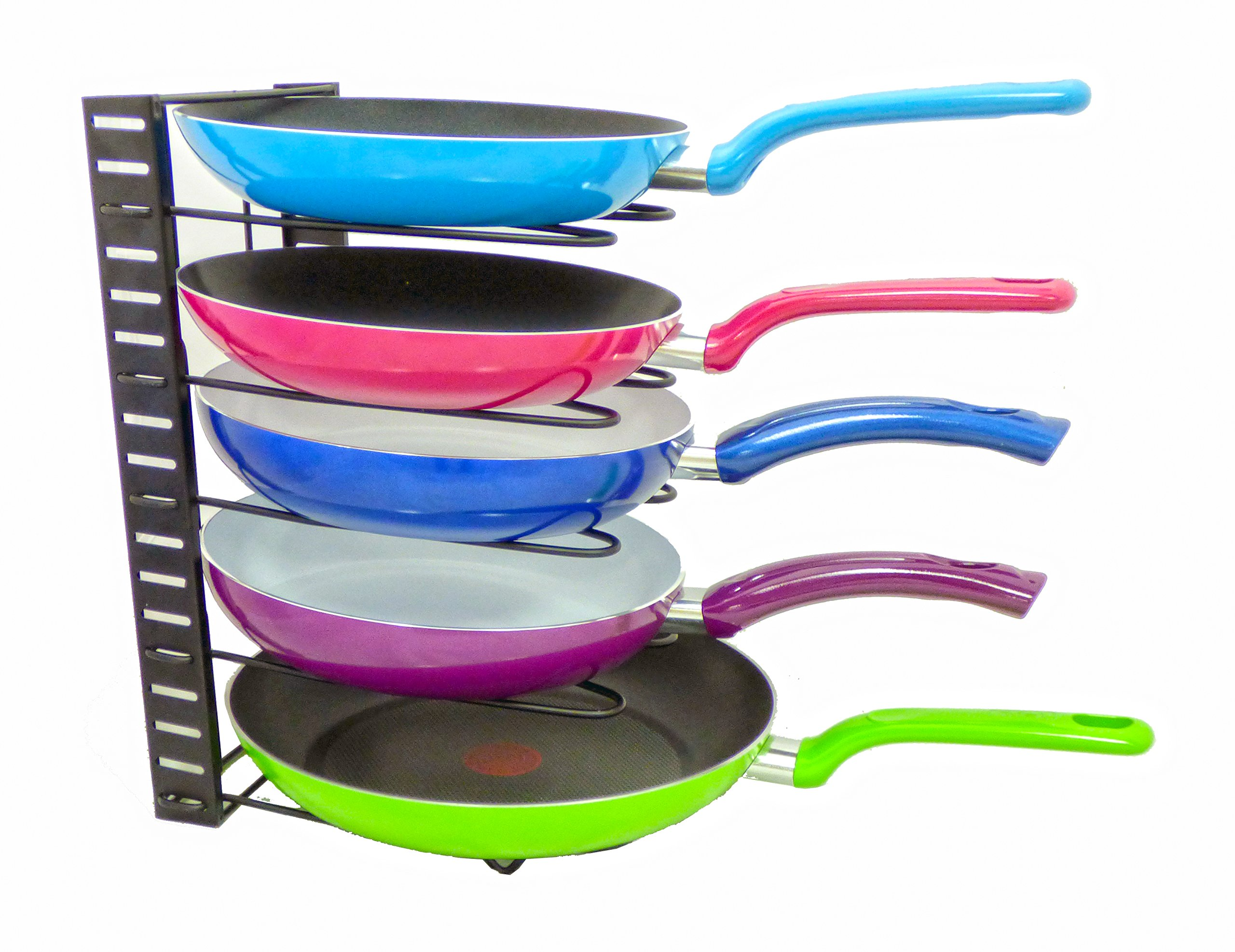 5Star Adjustable Pan Rack Pot Lid Holder Organizer - Home Cookware Storage Solution For Kitchen Countertop, Cabinet, Cupboard and Pantry - Stainless Steel Backeware Rack (Black)