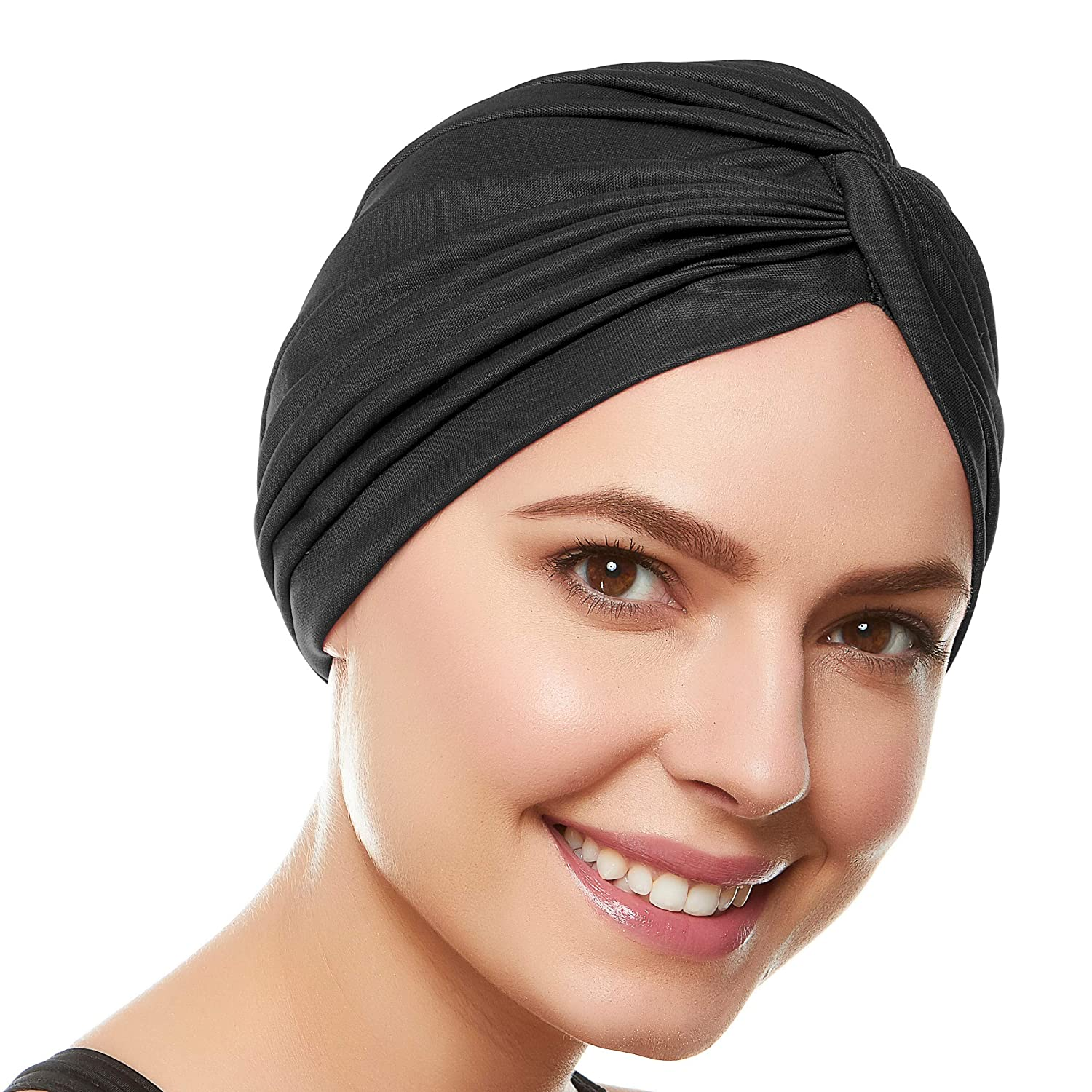 610737f1ee6 Amazon.com  Beemo Polyester Twisted Pleated Turban Head Cover - Black   Clothing