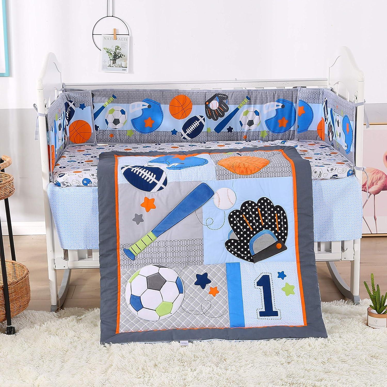 Wowelife Crib Sets for Boys 7 Piece Blue Baseball Nursery Bedding for Baby(Blue-7 Piece)