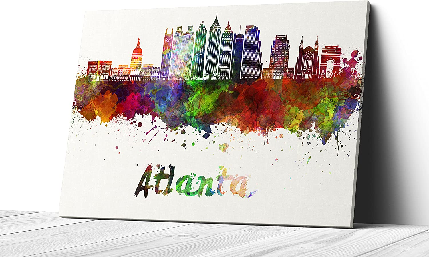 Qutenest Watercolor Atlanta City Skyline Canvas Wall Art Prints Modern Abstract Cityscape Wall Art Print Gallery Wrapped Giclee Canvas Art Home Decor Office Decor Ready To Hang Atlanta Posters Prints