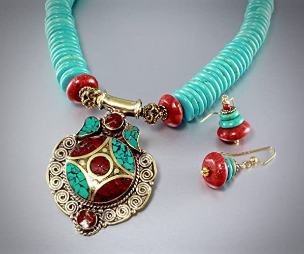 eed9db404 Amazon.com: Turquoise and Coral Tibetan Style Necklace and Earrings ...