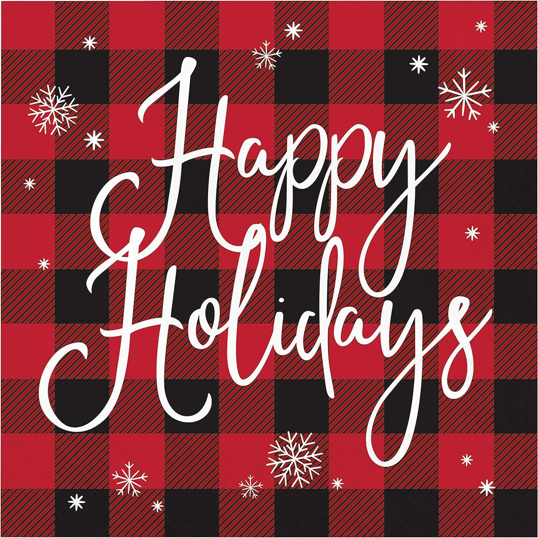 Buffalo Plaid Holidays Napkins, 48 ct