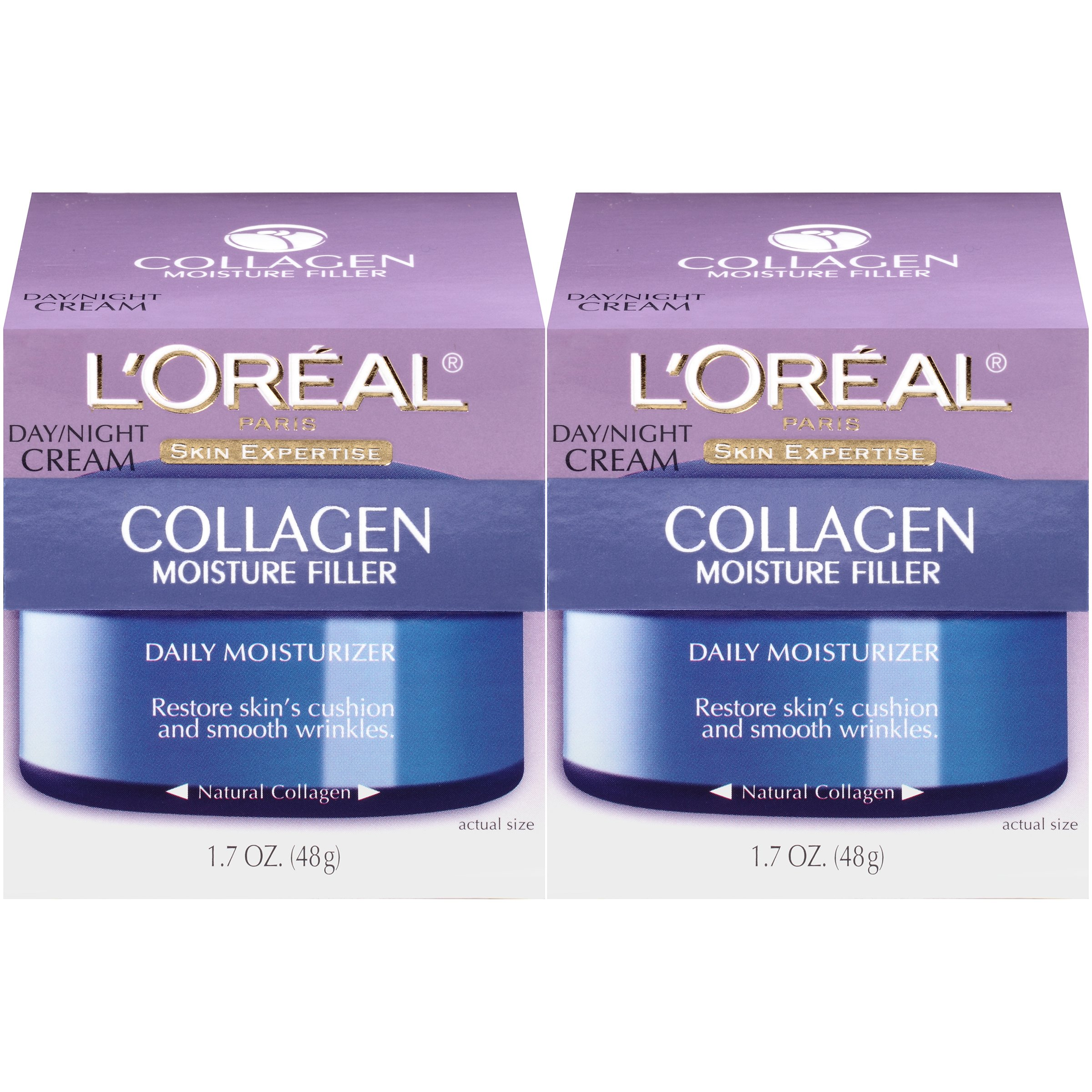 Collagen Face Moisturizer by L'Oreal Paris Skin Care I Day and Night Cream I Anti-Aging Face Cream to Smooth Wrinkles I Non-Greasy I 2 count by L'Oreal Paris