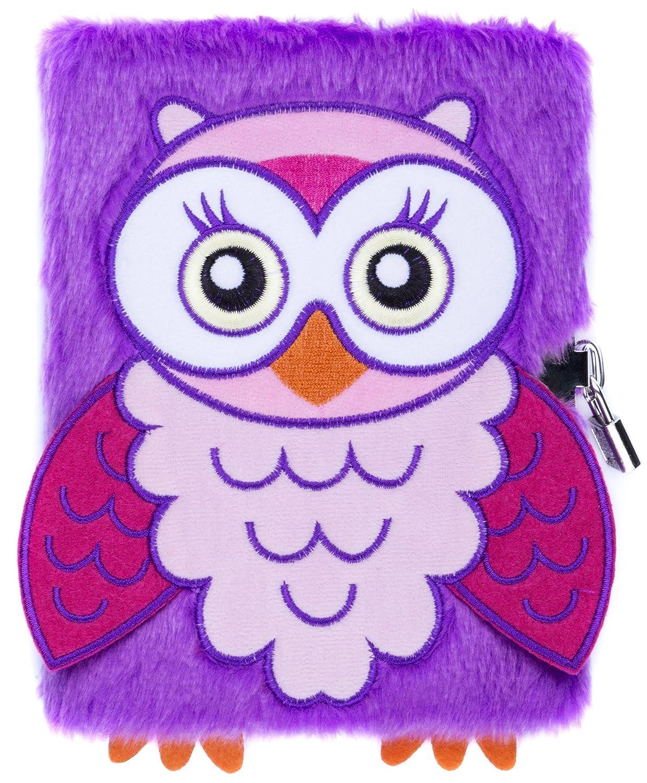 Las niñas niños peluche A5 cuaderno diario 3D Fringoo® con candado y marcapáginas, diseño de unicornio de felpa, con 80 páginas, color Owl A5: Amazon.es: ...