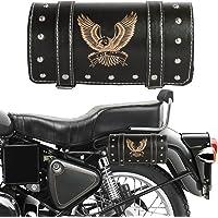 Autofy Hawk Printed Double Strap Lock Saddle Bag (Black and Silver)