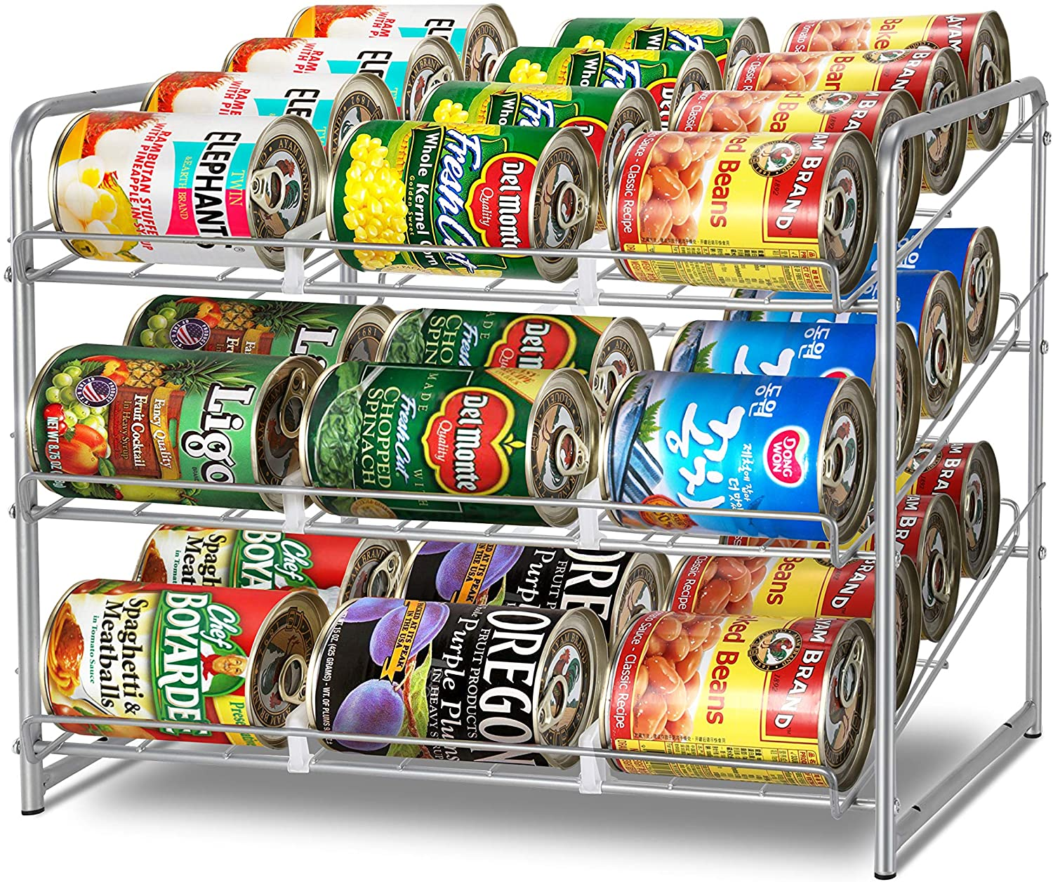 Simple Trending Can Rack Organizer, Stackable Can Storage Dispenser Holds up to 36 Cans for Kitchen Cabinet or Pantry, Silver
