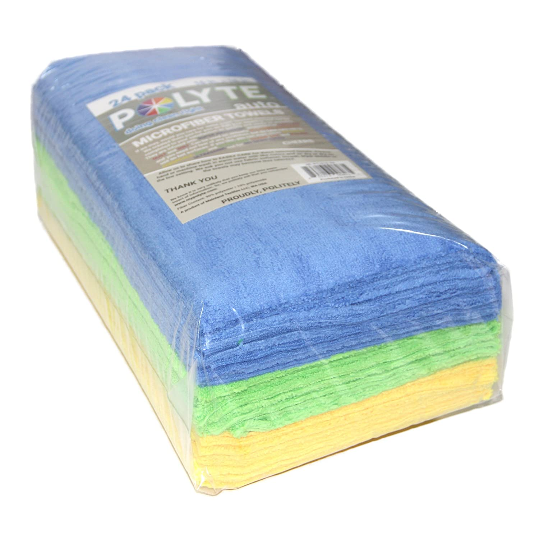 Polyte Premium Microfiber Cleaning Towel Ultrasonic Cut Edgeless 24 Pack 16 x 16 in