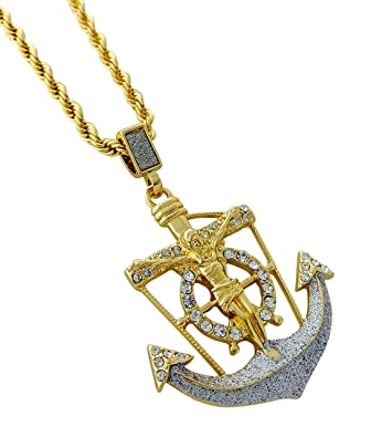 Amazon jesus crucifix anchor pendant necklace with 24 rope jesus crucifix anchor pendant necklace with 24quot rope chain aloadofball Images