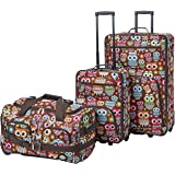 Rockland Vara Softside 3-Piece Upright Luggage Set, Owl, (20/22/28)