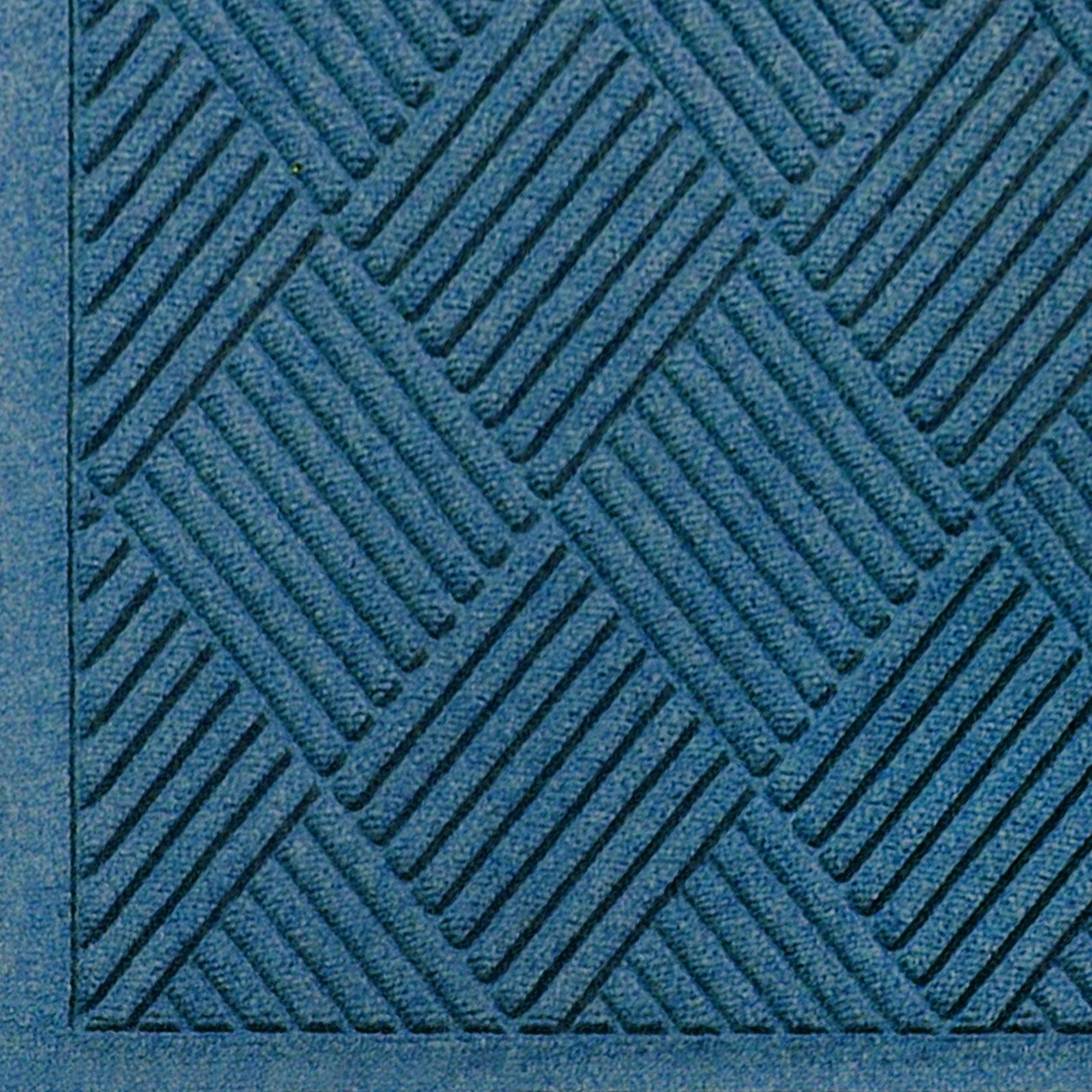 M+A Matting 221 Waterhog Fashion Diamond Polypropylene Fiber Entrance Indoor/Outdoor Floor Mat, SBR Rubber Backing, 3' Length x 2' Width, 3/8'' Thick, Medium Blue