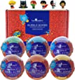 Superhero Bubble Bath Bombs for Kids with Surprise Toys Inside by Two Sisters Spa. 6 Large 99% Natural Fizzies in Gift Box. Moisturizes Dry Sensitive Skin. Releases Color, Scent, and Bubbles.