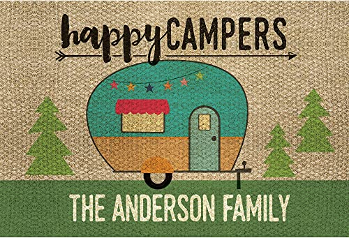 Happy Campers Vintage Trailer Personalized Doormat – Brown Custom Entry Door Mat with Name Printing on Durable 1 4 Thick Low Profile Mat, Indoor Outdoor, Non Slip Rubber Backing, Rectangular, 18×27