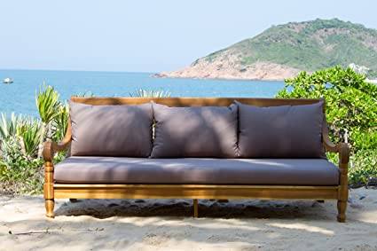Safavieh Outdoor Collection Pasadena Brown Taupe Acacia Wood Cushioned Daybed