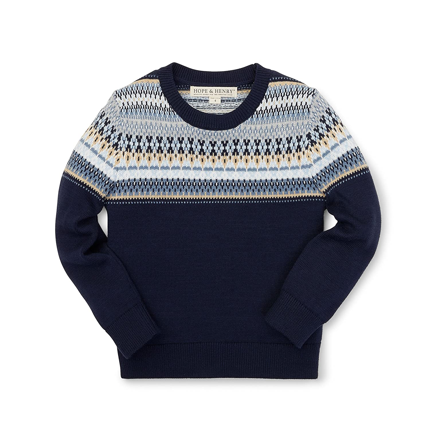 Hope & Henry Boys' Navy Fair Isle Sweater Made with Organic Cotton