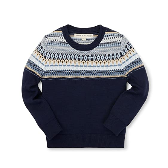 Amazon.com: Hope & Henry Boys' Navy Fair Isle Sweater Made with ...