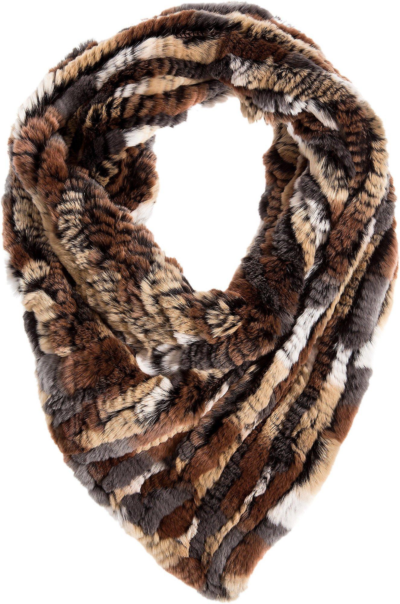 Knitted Rex Rabbit Fur Stretch Tube Scarf