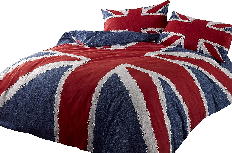 Cool Britannia Double Housse De Couette Bleu Union Jack Réversible