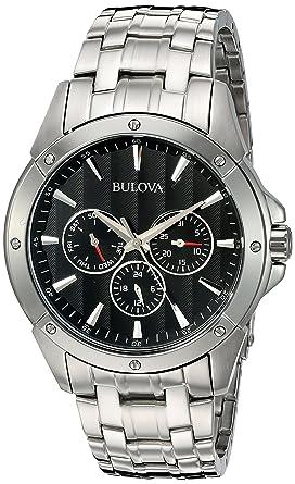 amazon com bulova men s 96c107 black dial stainless steel watch bulova men s 96c107 black dial stainless steel watch