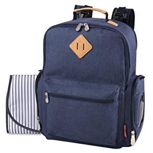 Fisher Price Classic River Backpack Diaper Bag, Old World Navy - Easy Wipe-Clean Fabric