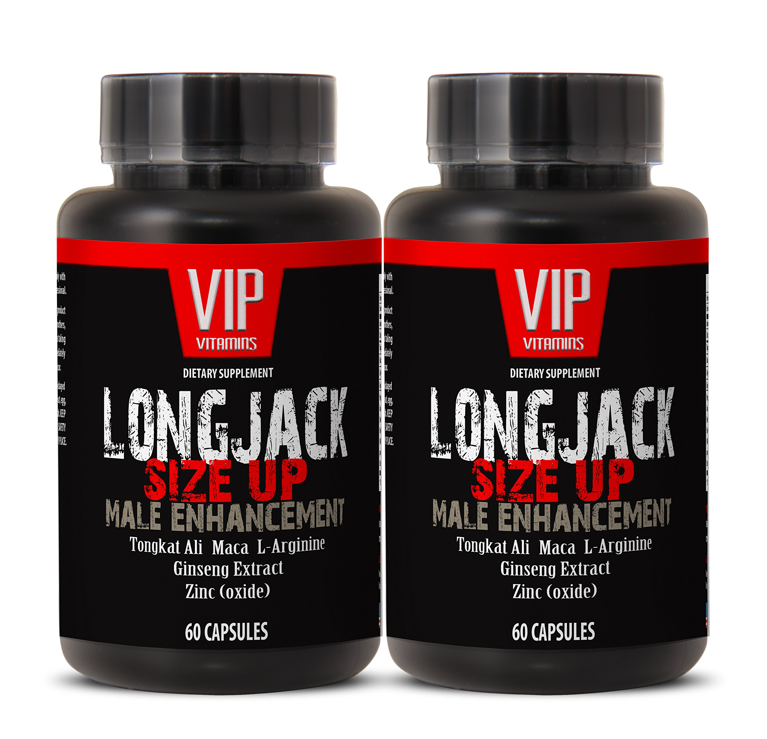 Male enhancing pills increase size and length - LONGJACK SIZE UP (MALE ENHANCEMENT FORMULA) - Maca vitamins for men - 2 Bottles 120 Capsules by VIP Supplements (Image #1)