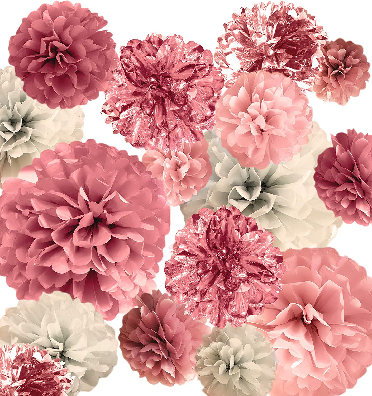 """VINANT 20 PCS Pink Rose Gold Party Decoration - Tissue Paper Pom Poms - Birthday Party Decoration - Baby Shower - Bridal Shower - Rose Gold, Dusty Rose, Blush Pink, Grey - 14"""", 10"""", 8"""", 6"""""""