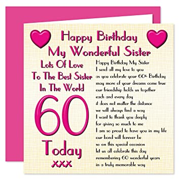 Schwester 60 Happy Birthday Karte Lots Of Love To The Best Sister In Die