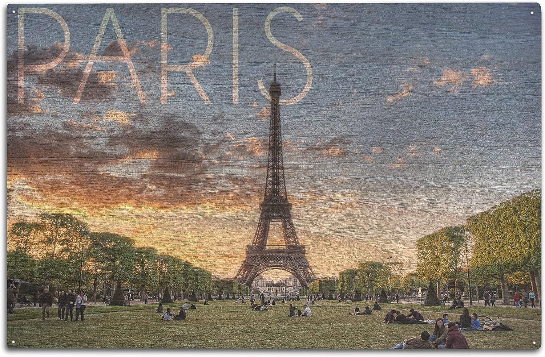 Lantern Press Paris, France - Eiffel Tower and Lawn (10x15 Wood Wall Sign, Wall Decor Ready to Hang)