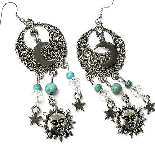 Sun and Moon Earrings  dangle earrings  celestial jewelry  Moon earrings  sun earrings  brass  bohemian jewelry  my sun and stars