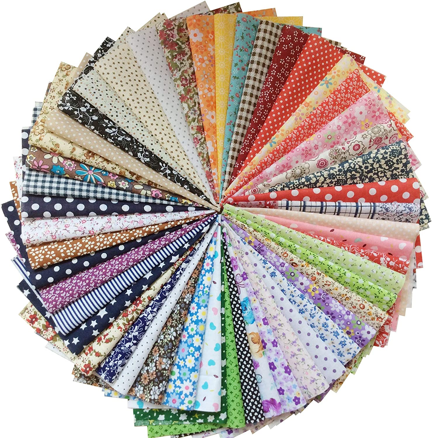 longshine-us 50pcs 8 x 8 Inch Premium Cotton Craft Fabric Bundle Squares Patchwork Lint DIY Sewing Scrapbooking Quilting Dot Pattern Artcraft