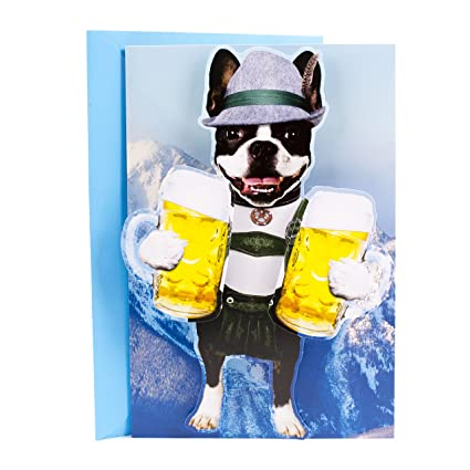 4386544e2e5 Amazon.com : Hallmark Funny Father's Day Card (Beer Dog in Lederhosen) :  Office Products