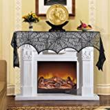 18 x 96 inch Halloween Decoration Cobweb Fireplace Mantel Scarf Black Lace Spiderweb Cover for Home Festive Party Supply