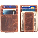 RAWHYD Slim Minimalist Wallet with Magnetic Money Clip | Made From Genuine Top Grain Buffalo Leather