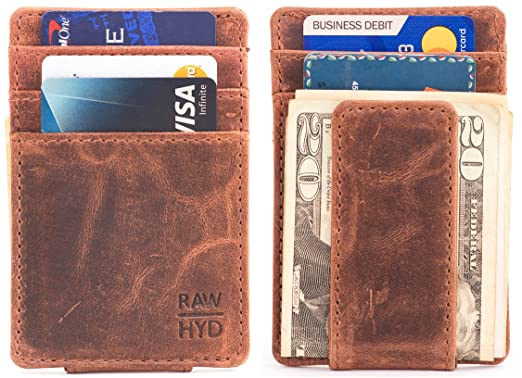 f649c459265f44 RAWHYD Top Grain Leather Slim Minimalist Wallet For Men with Magnetic Money  Clip