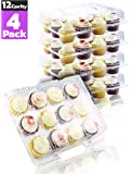 Chefible 12 Compartment Cupcake Container - Set of 4 | Plastic Disposable, Dozen Cavity, Cupcake Carrier with Secure High Top Design
