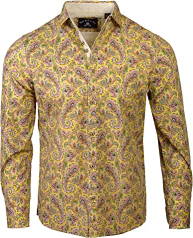 Rock Roll n Soul Men's Fashion Hazey Paisley 60's Era Long Sleeve Button-Up Shirt