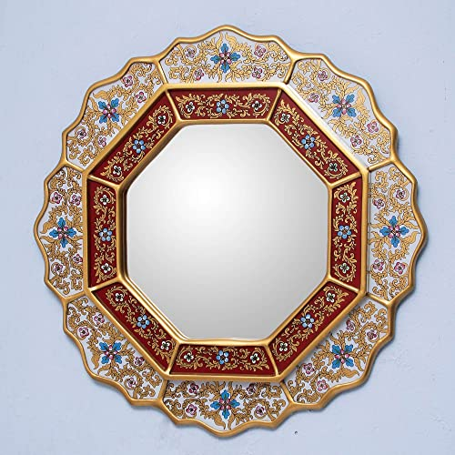 NOVICA White And Red Reverse-Painted Glass And Wood Framed Wall Mounted Round Mirror, White Star