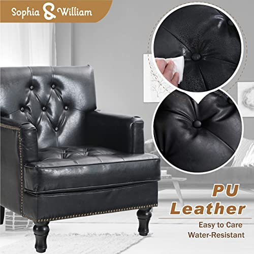 Sophia William Living Room Chair Mid Century Accent Sofa Chair Modern PU Leather Armchair Comfy Tufted Single Sofa Reading Chair Living Room