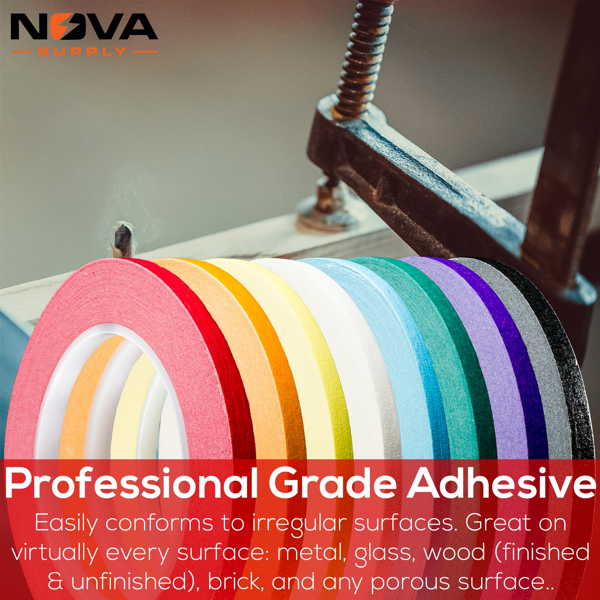 Nova Supplys 1/4in x 60yd Masking Tape, 8 Color Value Pack. Professional Grade Adhesive is Super Thin, Conforms to Irregular Surfaces, Is Easy to Tear & Release for Labeling, Painting, & Decorating. by Nova (Image #4)